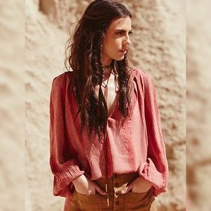 Free People Against All Odds Boho Stripe Blouse